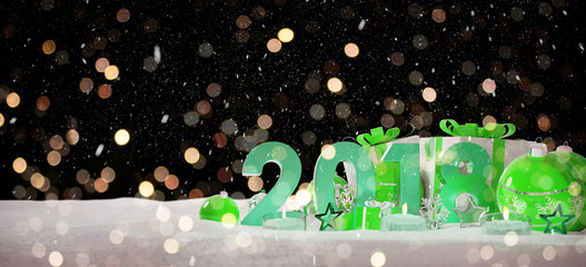 2018 new year eve with christmas baubles and gifts 3D rendering