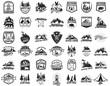 Big set of camping, hiking, tourism emblems. Design element for emblem, sign, label, poster.