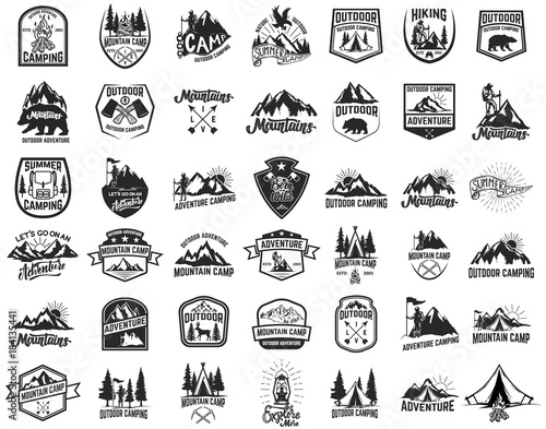 Photo Big set of camping, hiking, tourism emblems