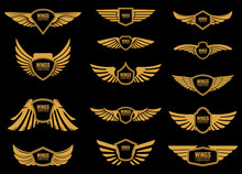 Set Of Wings Icons In Golden S...
