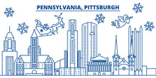 USA, Pennsylvania , Pittsburgh  Winter City Skyline. Merry Christmas And Happy New Year Decorated Banner. Winter Greeting Card With Snow And Santa Claus. Flat, Line Vector, Linear Christma
