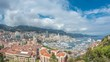 Monte Carlo city aerial panorama timelapse. View of luxury yachts and apartments in harbor of Monaco, Cote d'Azur.