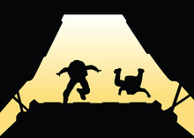 Two Paratroopers Jump From The...