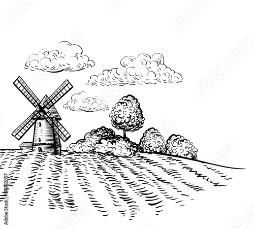 farm windmill drawing. Windmill On Agricultural Field Background Trees And Rural Landscape Hand Drawn Sketch Style Illustration. Farm Drawing