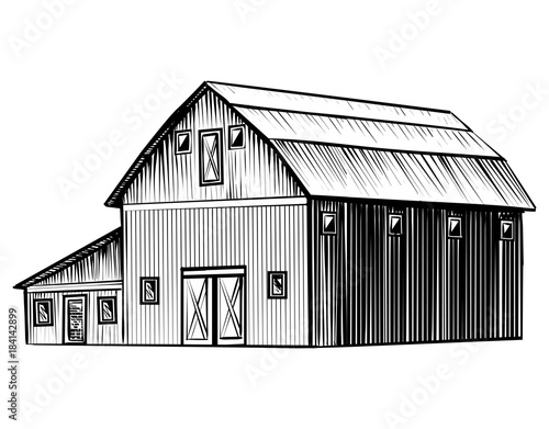 Tela Farm barn isolated on white background hand drawn sketch style illustration