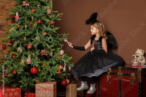 X Mas Winter Vacation And People Concept Little Girl In Black