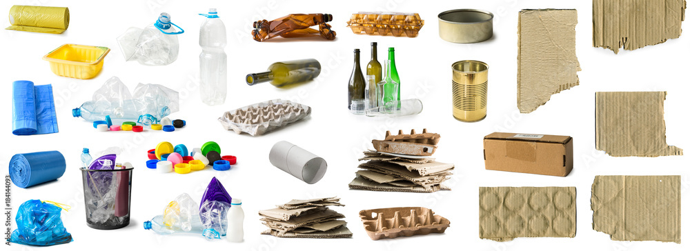 Fototapeta set of different types of trash isolated