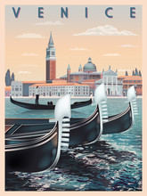 Early Morning In Venice, Italy. Travel Or Post Card Template. All Buildings Are Different Objects. Handmade Drawing Vector Illustration. Vintage Style.
