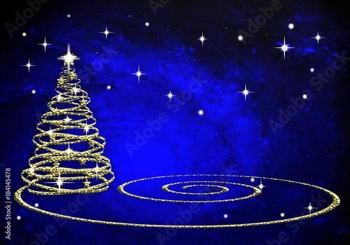 árbol De Navidad Fondo Azul Espacio Estrellas Espiral Fondo