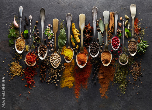 Recess Fitting Spices Herbs and spices on graphite background