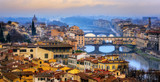 Ponte Vecchio bridge over Arno river in Old Town Florence, Italy