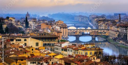 Aluminium Prints Florence Ponte Vecchio bridge over Arno river in Old Town Florence, Italy