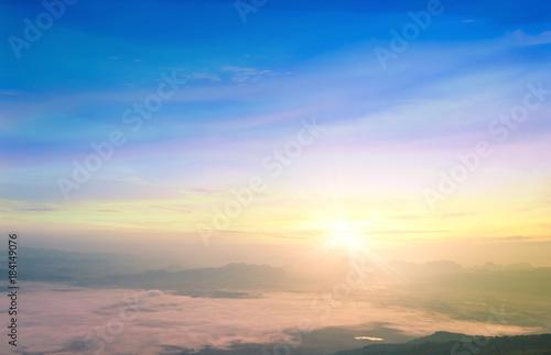 Fototapety, obrazy: World environment day concept: Beautiful mountain sky autumn sunrise background. Nok Ann cliff, Phu Kradueng National Park, Loei, Thailand, Asia.