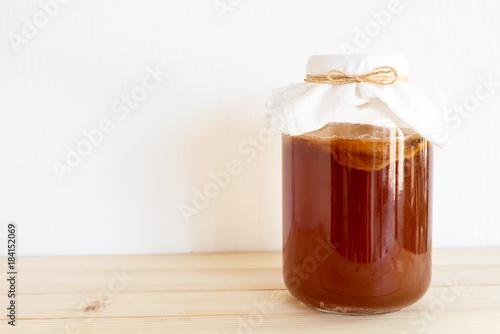 Fotografie, Obraz  fermented drink, Kombucha healthy natural probiotic in a glass jar