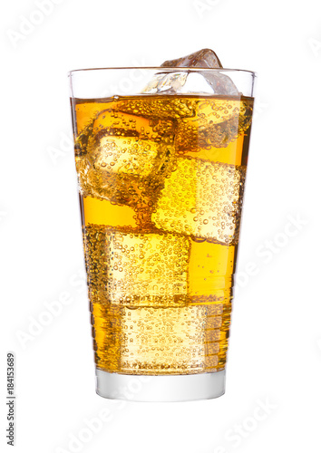 Glass of energy carbonated soda drink with ice