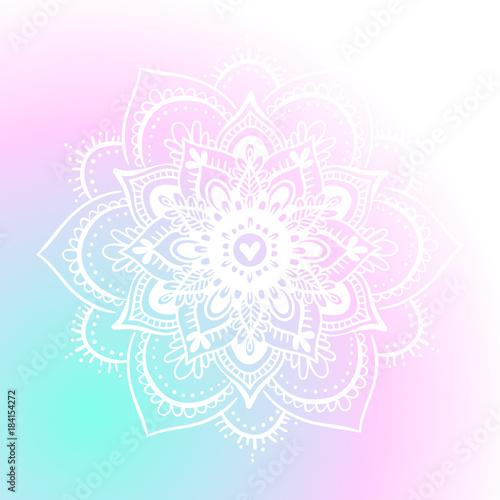 Round mandala on dreamy gradient background Canvas Print