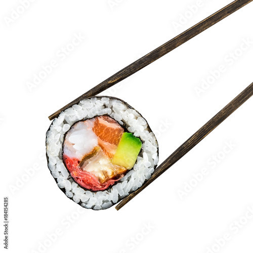 Fotografía Sushi roll with salmon, shrimps and avocado