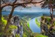 Beautiful spring panorama with Elbe river, Bastei, Saxon Switzerland, Germany