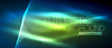 Hi-tech Futuristic Techno Background, Neon Shapes And Dots