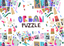 """Vector Trendy Horizontal Poster With Colorful Map Fragments And Text """"Urban Puzzle""""."""
