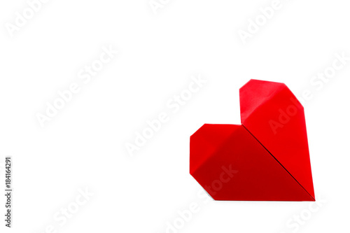 Red heart paper origami on white background with copy space