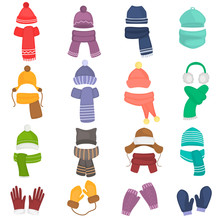 Set Of Winter Hats And Scarfs ...