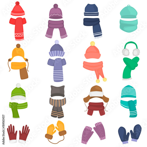 Fotografía Set of winter hats and scarfs color flat icons