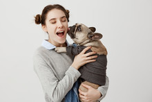 Portrait Of Pretty Woman Being Ecstatic And Delighted From Her Baby Dog Licking Her Face. Happy Facial Expressions Of Housewife Having Fun With French Bulldog Dressed In Sweater. Human Emotions