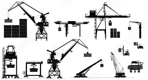 Harbor cargo cranes set, black and white, isolated