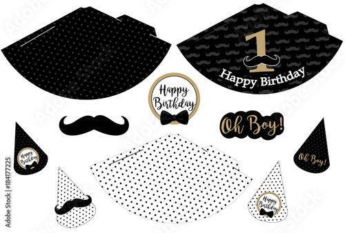 little man printable hats black white golden mustache pattern
