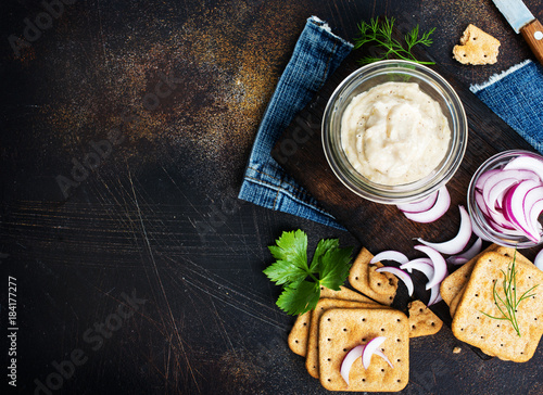 Fototapeta lard with garlic obraz