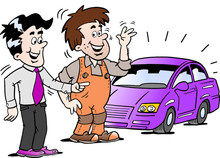 Cartoon Vector Illustration Of A Young Man There Are Happy For The New Auto Car