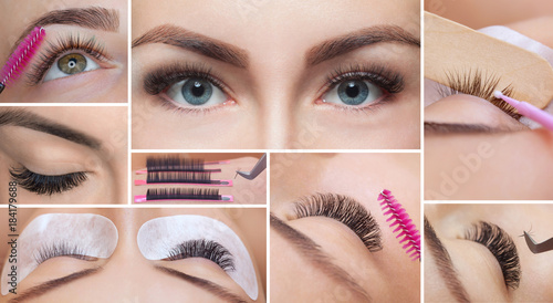 Eyelash removal procedure close up. Beautiful Woman with long lashes in a beauty salon. Collage