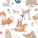 Fototapeta Fototapety na ścianę do pokoju dziecięcego - seamles pattern with cute animals