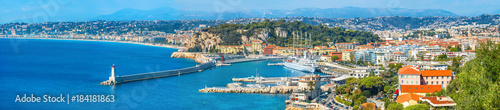 Fotobehang Nice Wide panoramic view of seaside and Nice city. Cote d'Azur, French riviera, France
