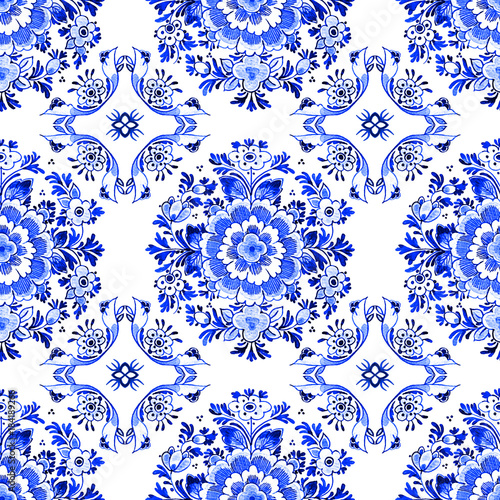 Foto op Canvas Kunstmatig Delft blue style watercolour seamless pattern. Traditional Dutch floral tiled motif, flowers in circular rosette pattern, cobalt on white background. Wallpaper. Textile print.