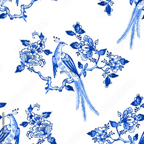 delft-niebieski-styl-akwarela-bezszwowe-wzor-tradycyjny-holenderski-kwiecisty-motyw-raju-ptak-na-kwitnie-galaz-kobalt-na-bialym-tle-tapeta-druk-tekstylny