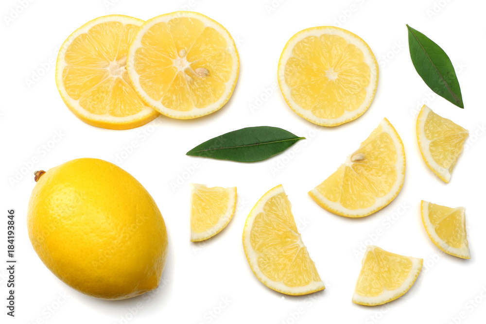 Fototapeta healthy food. sliced lemon with green leaf isolated on white background top view