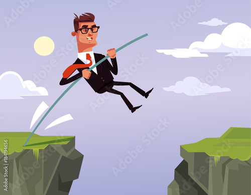 Brave businessman office worker character jumping Canvas Print