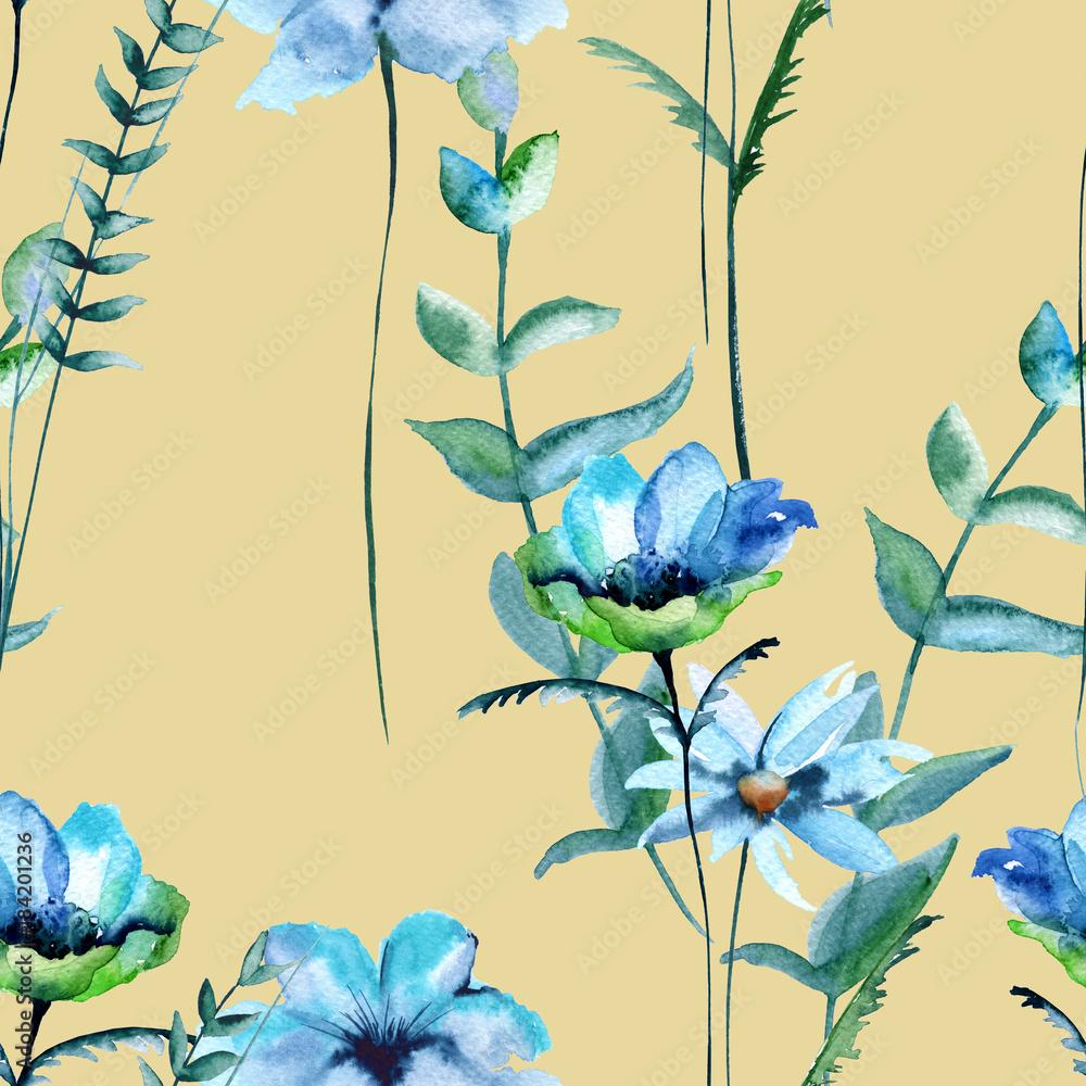 Background of wildflowers. Seamless pattern.