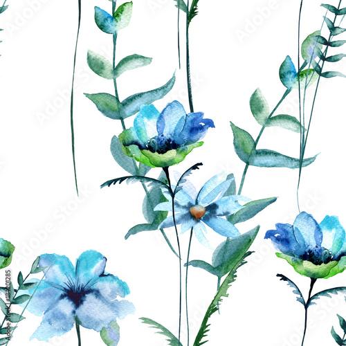 Fototapety, obrazy: Background of wildflowers. Seamless pattern.