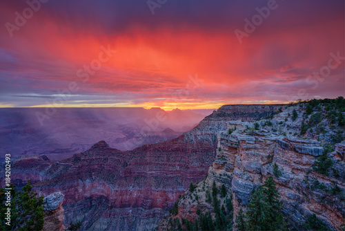 Photo Stands Crimson Grand Canyon Sunrise at Mather Point