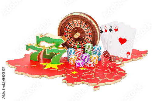 Poster  Casino and gambling industry in the China concept, 3D rendering