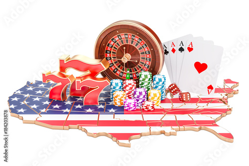 фотография  Casino and gambling industry in the USA concept, 3D rendering