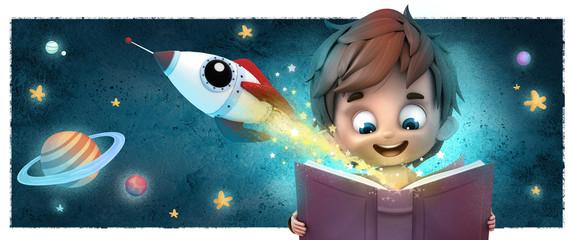 niño con cohete y libro