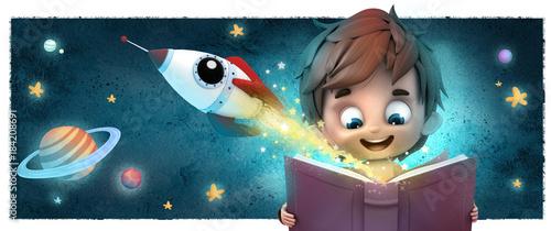 Photo niño con cohete y libro