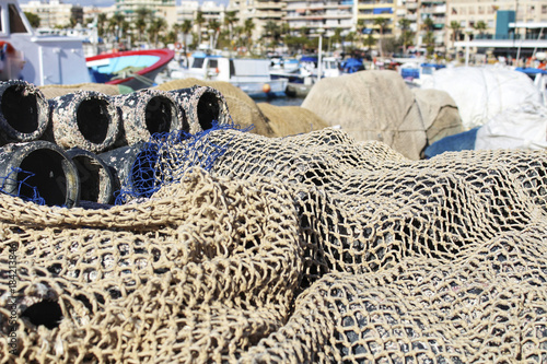 Deurstickers Nasa Traps for fish octopus and nets in the pier of Santa Pola