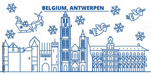 Foto op Plexiglas Antwerpen Belgium, Antwerpen winter city skyline. Merry Christmas, Happy New Year decorated banner with Santa Claus.Winter greeting line card.Flat, outline vector. Linear christmas snow illustration
