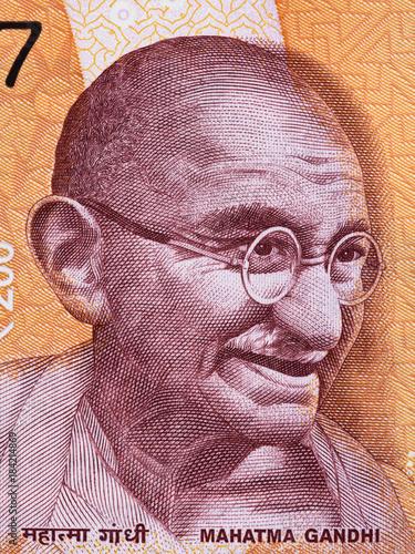 Mahatma Gandhi face portrait on India 200 rupee (2017) banknote close up macr...