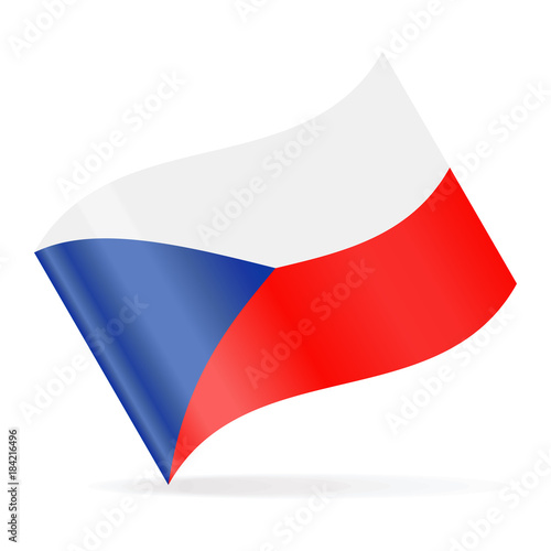 Czech Republic Flag Vector Waving Icon Poster